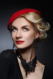Beautiful lady in red beret Stock Photo