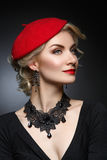 Beautiful lady in red beret Royalty Free Stock Images