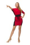 Beautiful lady in red black dress isolated on the Royalty Free Stock Images
