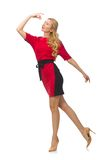 Beautiful lady in red black dress isolated on the Royalty Free Stock Image