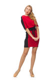 Beautiful lady in red black dress isolated on Stock Photo