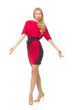 Beautiful lady in red black dress isolated on Stock Photography
