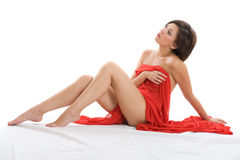 Beautiful lady with red cloth Royalty Free Stock Image