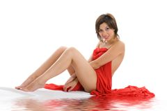 Beautiful lady with red cloth Stock Photography