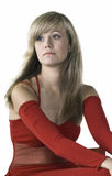 Beautiful lady in red dress Stock Photography