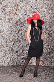 Beautiful lady in red hat royalty free stock images