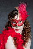 Beautiful lady in a red mask Stock Image