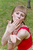 Beautiful lady in red Royalty Free Stock Images