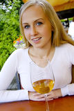 Beautiful lady in the restaurant. Royalty Free Stock Photos