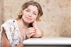 Beautiful lady in a restaurant Stock Image