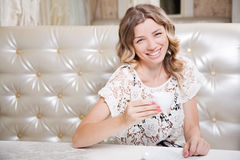 Beautiful lady in a restaurant Stock Photography