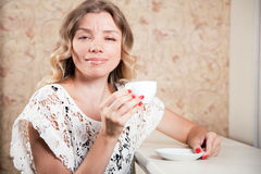 Beautiful lady in a restaurant Stock Photos