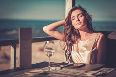 Beautiful lady in a restaurant Royalty Free Stock Images