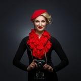 Beautiful lady with retro photo camera Royalty Free Stock Photography