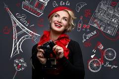 Beautiful lady with retro photo camera Royalty Free Stock Photos