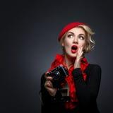 Beautiful lady with retro photo camera Stock Photography