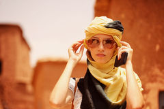 Beautiful lady with scarf Stock Image