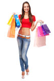 Beautiful lady with shopping bags Royalty Free Stock Photos