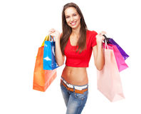 Beautiful lady with shopping bags Royalty Free Stock Photo