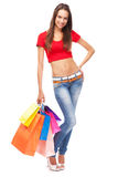 Beautiful lady with shopping bags, isolated on white background Stock Photo