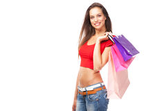 Beautiful lady with shopping bags, isolated on white background Stock Photos