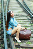Beautiful lady sit on the rails Stock Photos