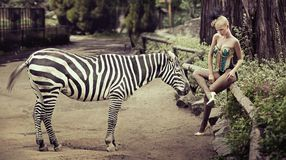 Beautiful lady sitting next to a zebra Royalty Free Stock Images
