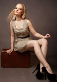 Beautiful lady sitting oh her brown suitcase Stock Photography