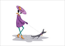 Beautiful lady with small  dog on isolated white. Beautiful lady in violet hat and elegant coat walking with small decorative gray doggie on isolated white Stock Image