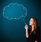 Beautiful lady smoking cigarette with idea cloud Royalty Free Stock Photo