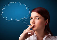 Beautiful lady smoking cigarette with idea cloud Royalty Free Stock Image