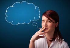 Beautiful lady smoking cigarette with idea cloud Stock Image
