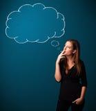 Beautiful lady smoking cigarette with idea cloud Stock Photos