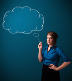 Beautiful lady smoking cigarette with idea cloud Royalty Free Stock Photos