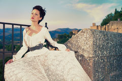Beautiful lady in southern city Royalty Free Stock Photography