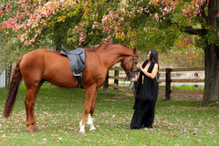 Beautiful lady standing with her horse in Autumn Royalty Free Stock Image