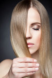 Beautiful lady with straight hair Stock Image