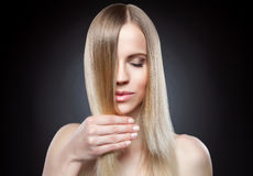 Beautiful lady with straight hair. Beautiful young lady with straight hair Royalty Free Stock Photos