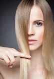 Beautiful lady with straight hair Stock Photography