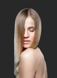 Beautiful lady with straight hair Royalty Free Stock Photography