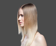 Beautiful lady with straight hair. Beautiful young lady with straight hair Stock Photos