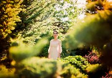 Beautiful lady in sunlight garden royalty free stock images