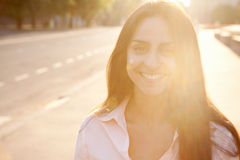 Beautiful lady in sunset light Royalty Free Stock Photography