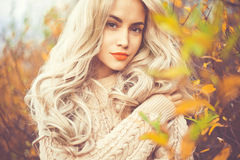 Beautiful lady surrounded autumn leaves. Outdoor fashion photo of young beautiful lady surrounded autumn leaves Royalty Free Stock Image