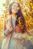 Beautiful lady surrounded autumn leaves Stock Images