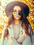Beautiful lady surrounded autumn leaves Stock Image