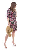 Beautiful lady and teddy bear Royalty Free Stock Image