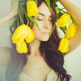 Beautiful lady with tulip Royalty Free Stock Photos