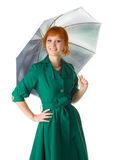 Beautiful lady with an umbrella Stock Photo