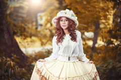 Beautiful lady in vintage outfit Stock Photos